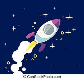 początek, statek, fly., do góry, rakieta