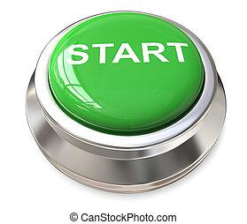 początek, zielony, button.