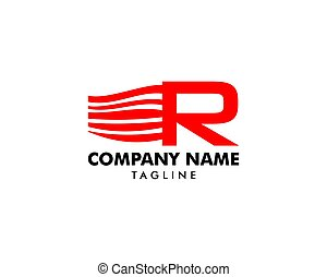 początkowy, mocny, r, projektować, litera, logo
