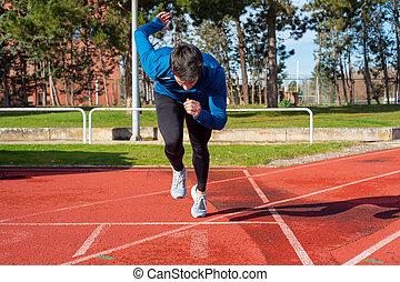 początkowy, track., młody, sprint, wyścigi, człowiek