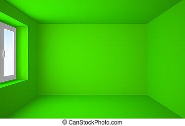 początkowy, zielony, do góry, pokój