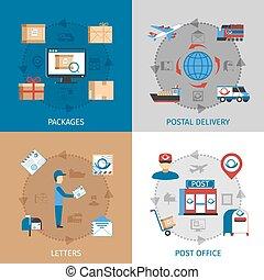 poczta, pojęcie, komplet, ikony