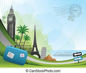 pocztowy, karta, podróż, tło