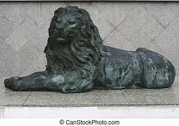 podłoga, chudy, lew, mable, zielony, rzeźbiarstwo
