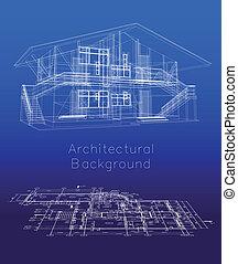 podłoga, dom, stylizowany, wektor, plan., wzór