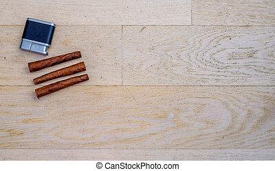 podłoga, drewniany, trzy, latarnik, toskańczyk, cygara