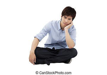 podłoga, przewrócić, młody mężczyzna, posiedzenie