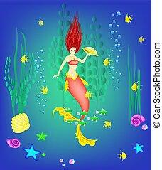 pod čarou ponoru, společnost, mladý mořská panna, shánět se, nechat na holičkách, a, jeden, perla, vektor, ilustrace
