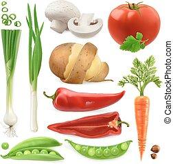 pod., セット, vegetables., ポテト, ニンジン, 隔離された, 現実的, ベクトル, 長ネギ, トマト, こしょう, 3d, エンドウ豆, アイコン