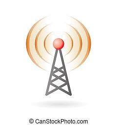 Illustration of radio antenna mast with signals on air