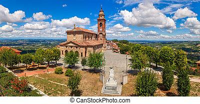 pod, kościół, piękny, prospekt, sky., panoramiczny