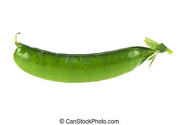 Pod of green pea isolated on white background
