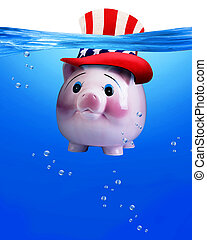 pod, piggy bank, water.