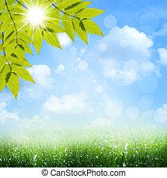 pod, przedimek określony przed rzeczownikami, błękitny, skies., abstrakcyjny, wiosna, i, lato, tła