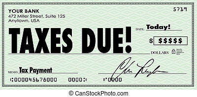 podatki, należny, czek, pieniądze, wysyłać, wpłata, dochód,...