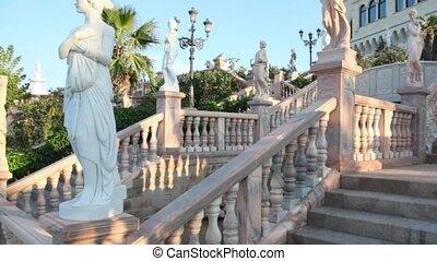 podbicie, ruch, na, kamień, schody, w parku, od, castello,...