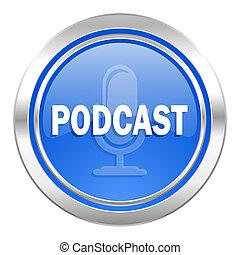 podcast, アイコン, 青, ボタン
