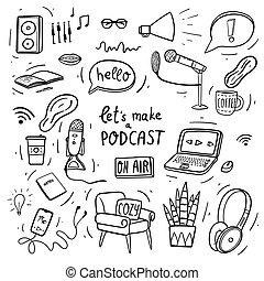 podcast, マイクロフォン, 保温カバー, smartphone, houseplant., ∥ましょう∥, 作りなさい, 叫びなさい, コーヒー, 手, ヘッドホン, 肘掛け椅子, ラップトップ, 大袈裟な表情をしなさい, 印, doodles, ヘッドホン, 空気, 引かれる