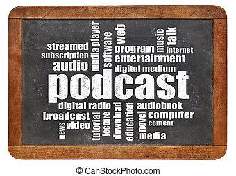podcast, 単語, 雲, 上に, 黒板