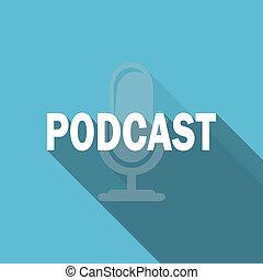 podcast, 平ら, アイコン