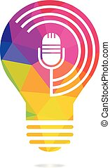 Podcast and bulb lamp logo design.