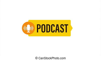Podcast. Badge, icon stamp logo stock illustration