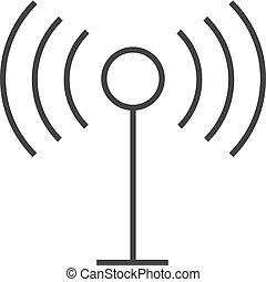 podcast, -, contour, icône