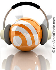 podcast - Feed or Rss icon, used in internet transmision and...