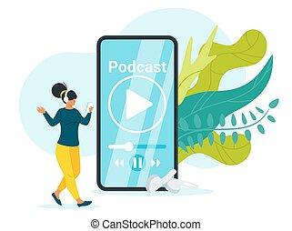 Podcast flat vector illustration. Girl listening to online...