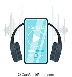 Podcast flat vector illustration. Smartphone with headphones...