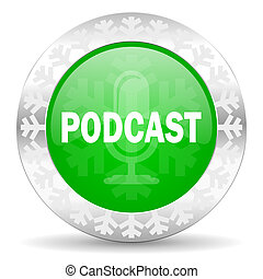 podcast green icon, christmas button