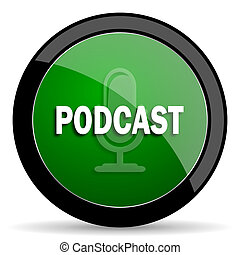 podcast green web glossy icon with shadow on white background