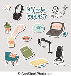 Podcast hand drawn doodle style stickers set.