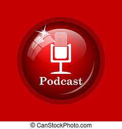 Podcast icon. Internet button on red background.
