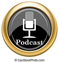Podcast icon - Shiny glossy icon with white design on black ...