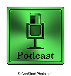 Podcast icon - Square metallic icon with carved design on ...