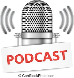 Podcast - Microphone with podcast banner, vector eps10...