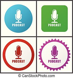 Podcast red, blue, green and pink vector icon set. Web icons. Flat design signs and symbols easy to edit