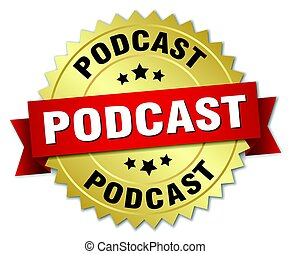 podcast round isolated gold badge