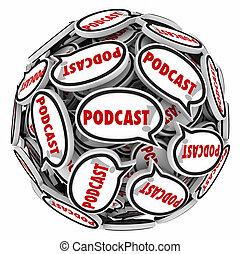 podcast, sfera, programma, discorso, mp3, intervista, bolle, audio