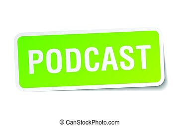 podcast square sticker on white