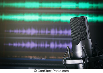 Podcast Studio. Microphone on stand. Music recording concept