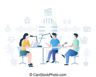 Podcast vector concept for web banner, website page