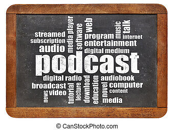 podcast, woord, wolk, op, bord