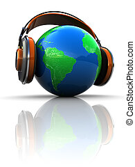 podcasting - 3d illustration of earth globe with headphones,...