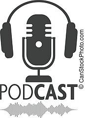 podcasting, symbool, koptelefoon, golfvorm, audio, microfoon