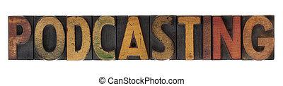 podcasting - vintage wood letterpress type
