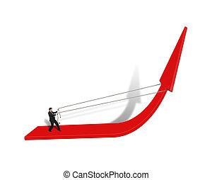 podciągając, czerwona strzała