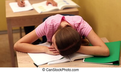 podczas, biurko, klasa, student, spanie