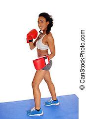 podczas, bokser, kobieta, boks, exercise.